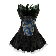 Load image into Gallery viewer, Drag Corset Dress Peacock (3 Variants) Black top / Black skirt / S Corset Dress