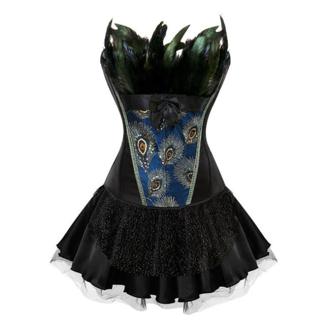 Drag Corset Dress Peacock (3 Variants) Black top / Black skirt / S Corset Dress