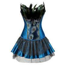 Load image into Gallery viewer, Drag Corset Dress Peacock (3 Variants) Blue top / Blue skirt / S Corset Dress