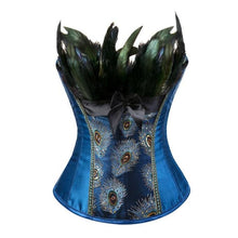 Load image into Gallery viewer, Drag Corset Peacock (Blue or Black) Blue / S Corset