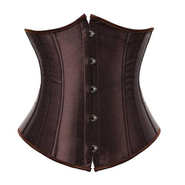 Drag Corset Satin (7 Colors) Brown / XXXL Corset