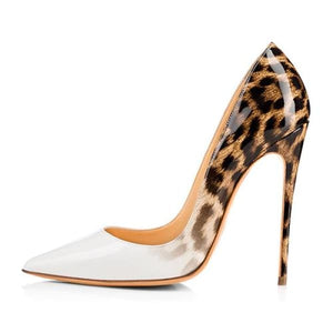 Drag Shoes DuJour (Black or White) White and Leopard / 4 Pumps