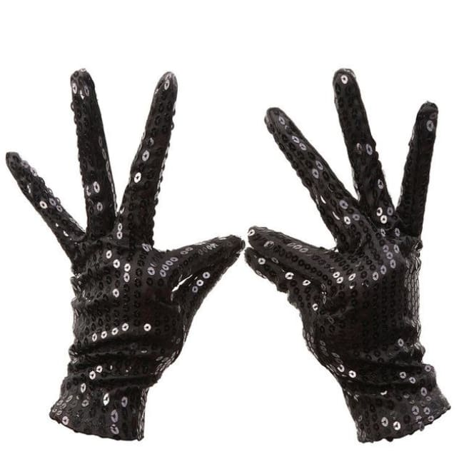 Gloves Drag Sequins (5 Colors) Black Gloves