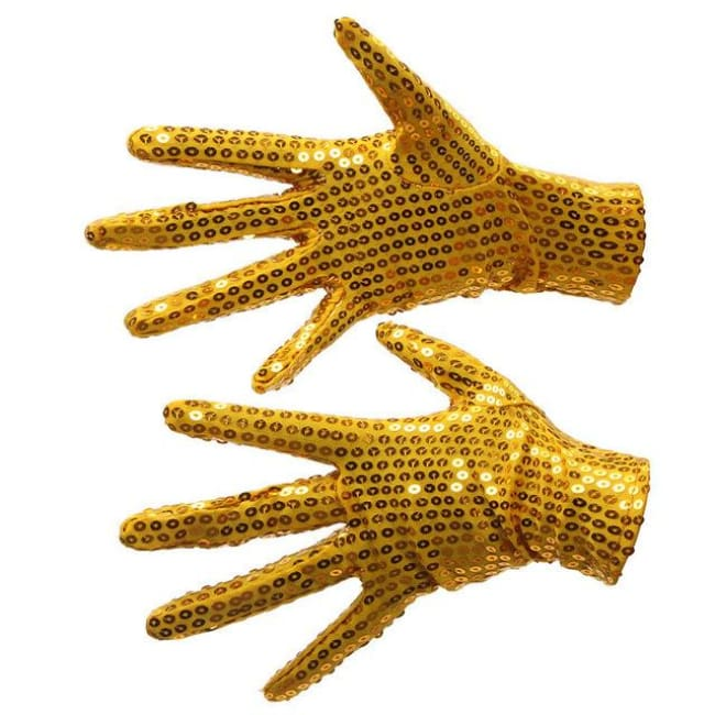 Gloves Drag Sequins (5 Colors) Golden Gloves