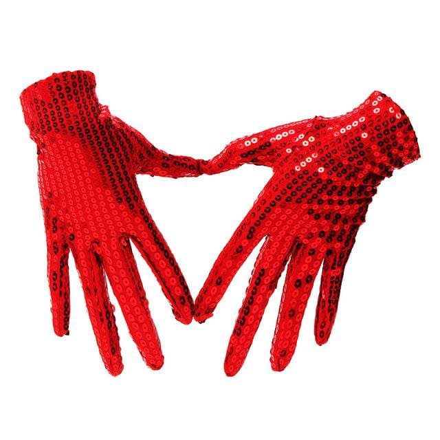 Gloves Drag Sequins (5 Colors) Red Gloves