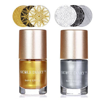 Load image into Gallery viewer, LIMITED EDITION 2x 9ml Stamping Art Nail Polish (Golden and Silvery) Nail Polish