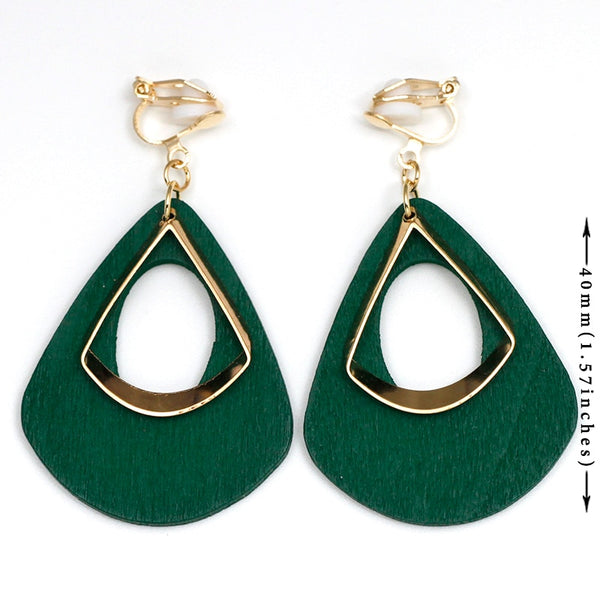 Clip Earrings Drag Green