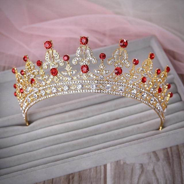 Tiara Queen Elizabeth (2 Colors) Gold and red Tiara