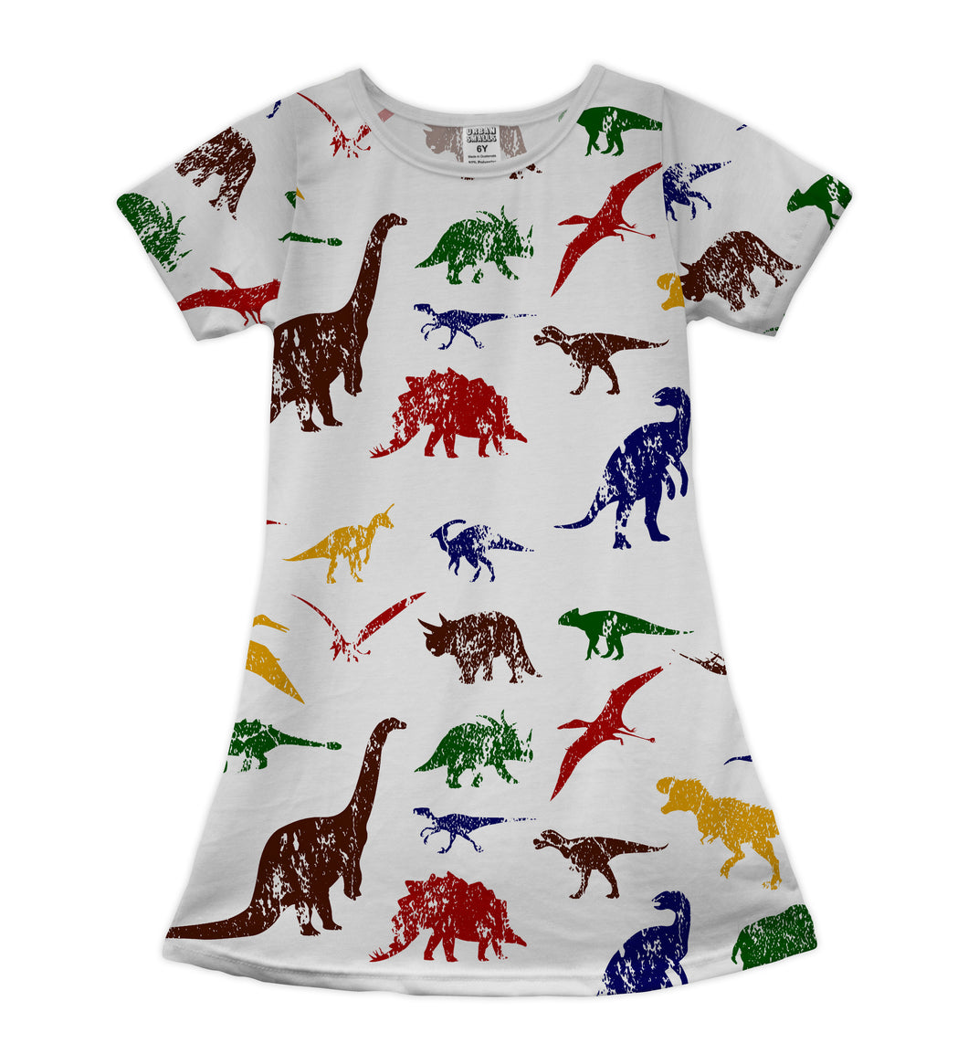 White Dinosaurs Shift Dress