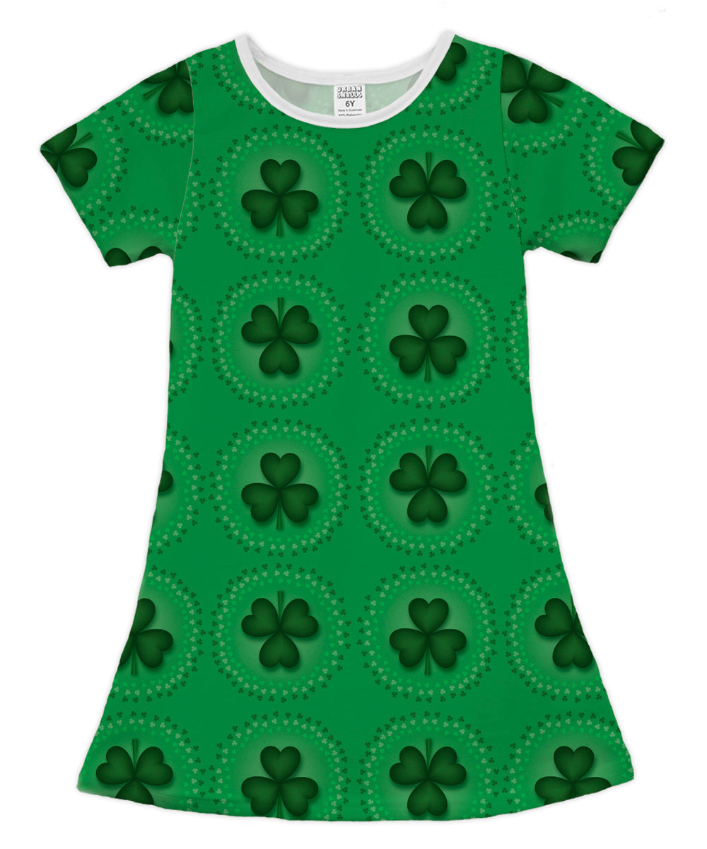 Green Circular Shamrocks Shift Dress