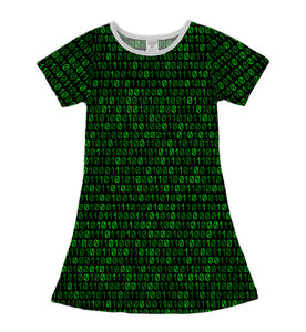 Black & Green Code Shift Dress