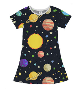 Black Planets Shift Dress