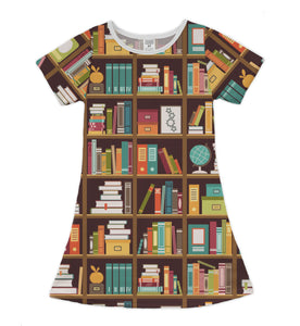 Brown Library Shift Dress