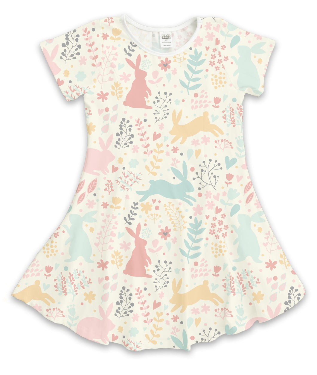 Cream & Pink Fanciful Bunnies Sublimated Fit & Flare Dress