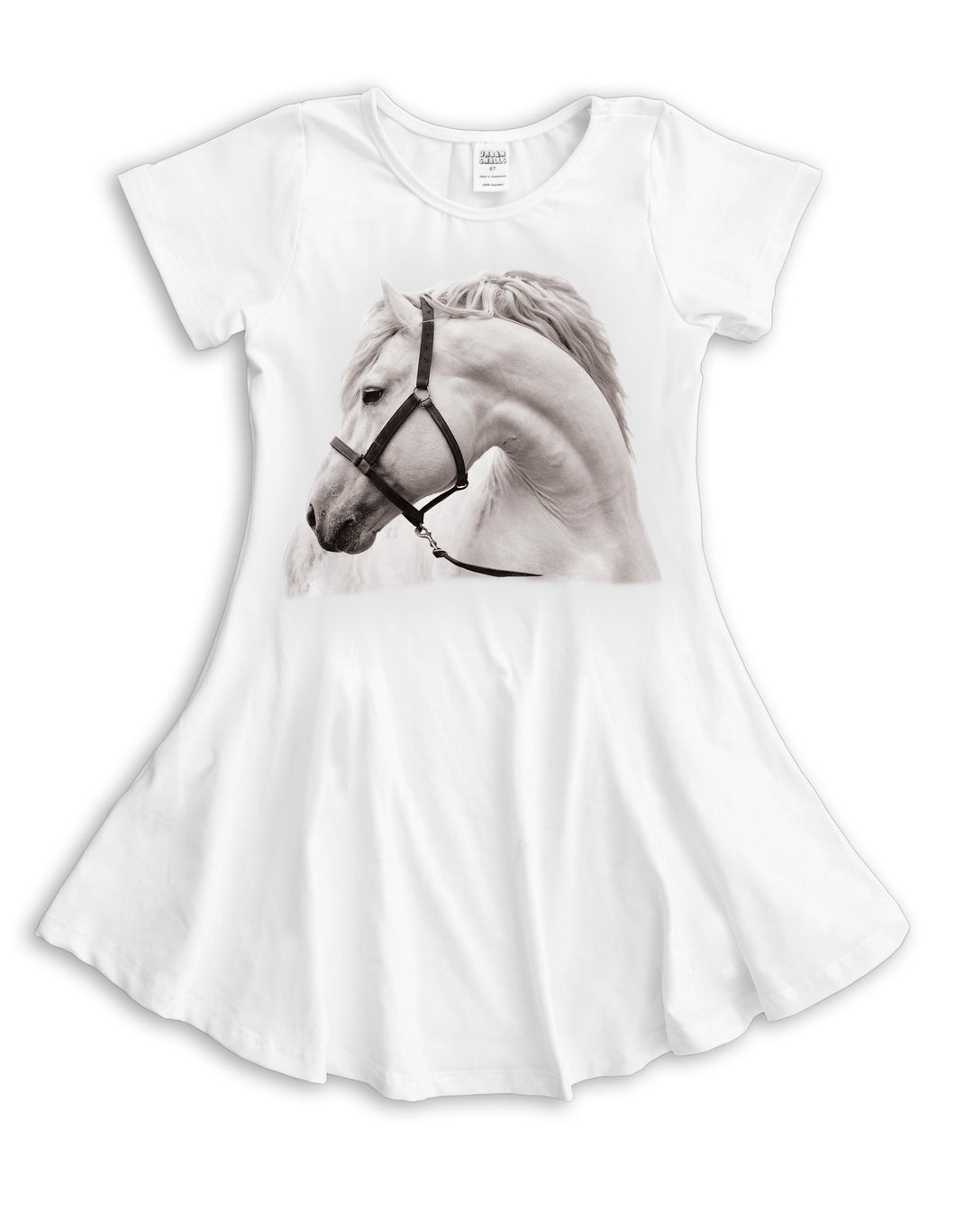 White Horse Sublimated Fit & Flare Dress