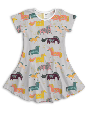 Gray Fanciful Unicorn Sublimated Fit & Flare Dress