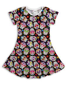 Black Sugar Skulls Sublimated Fit & Flare Dress