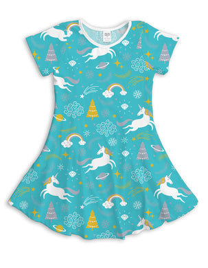 Aqua Tree & Unicorn Sublimated Fit & Flare Dress