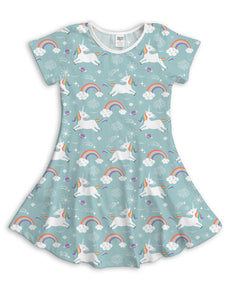 Blue Cool Unicorns Sublimated Fit & Flare Dress