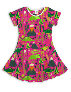 Pink Jungle Dino Sublimated Fit & Flare Dress