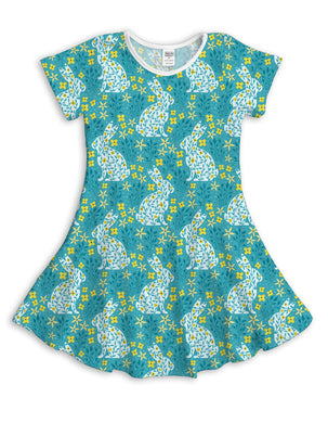 Teal Floral Rabbit Sublimated Fit & Flare Dress