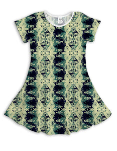 Black & Cream Rorschach Sublimated Fit & Flare Dress