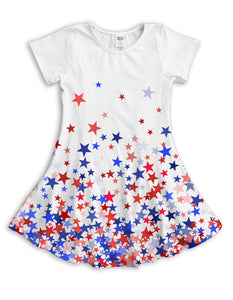 Patriotic Falling Stars Sublimated Fit & Flare Dress