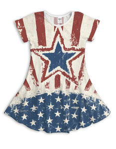 White Stars & Stripes Sublimated Fit & Flare Dress