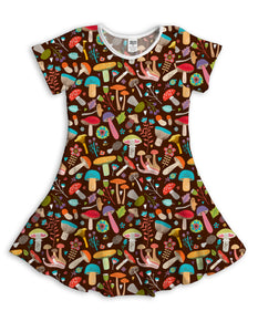 Brown Mushrooms Sublimated Fit & Flare Dress