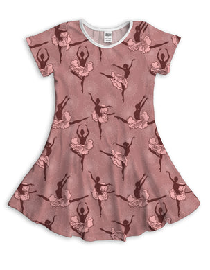 Pink Ballerinas Sublimated Fit & Flare Dress