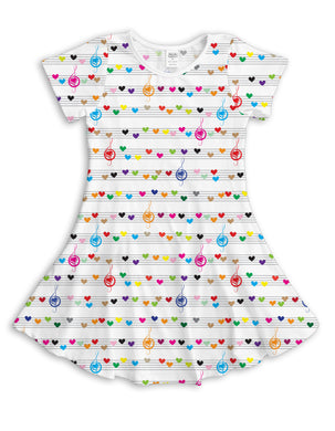 White Sheet-Music Hearts Sublimated Fit & Flare Dress