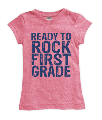 'Ready to Rock First Grade' Fitted Tee