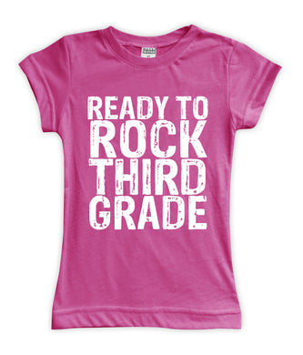 'Ready to Rock Third Grade' Fitted Tee