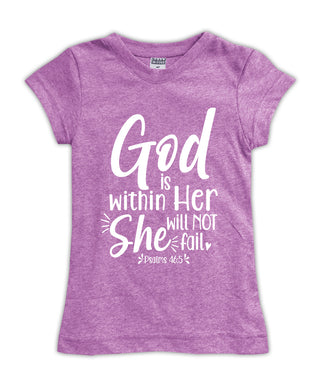 Mauve 'Pslam 46:5 God Is Within Her' Fitted Tee
