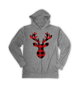 Heather Gray Plaid Stag Hoodie