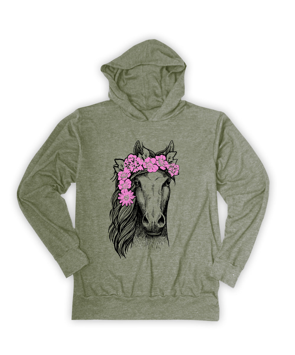 Horse with Flower Wreath Hoodie