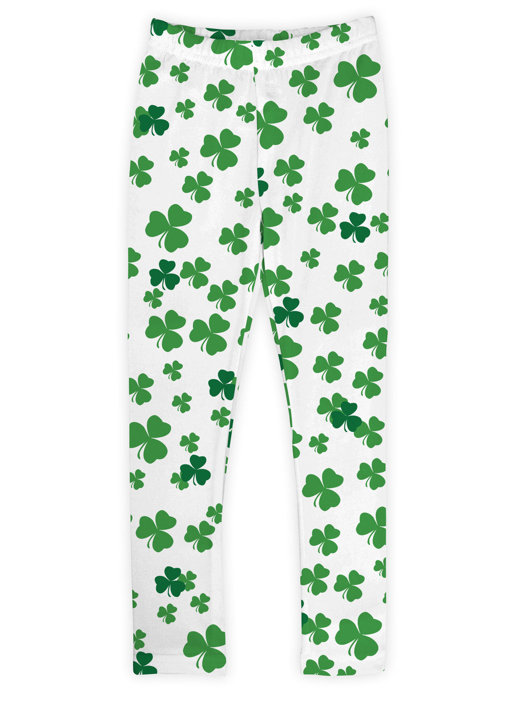 White & Green Shamrock Leggings
