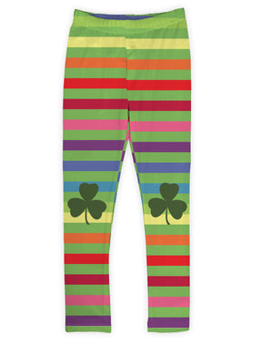 Rainbow Shamrock Patch Leggings