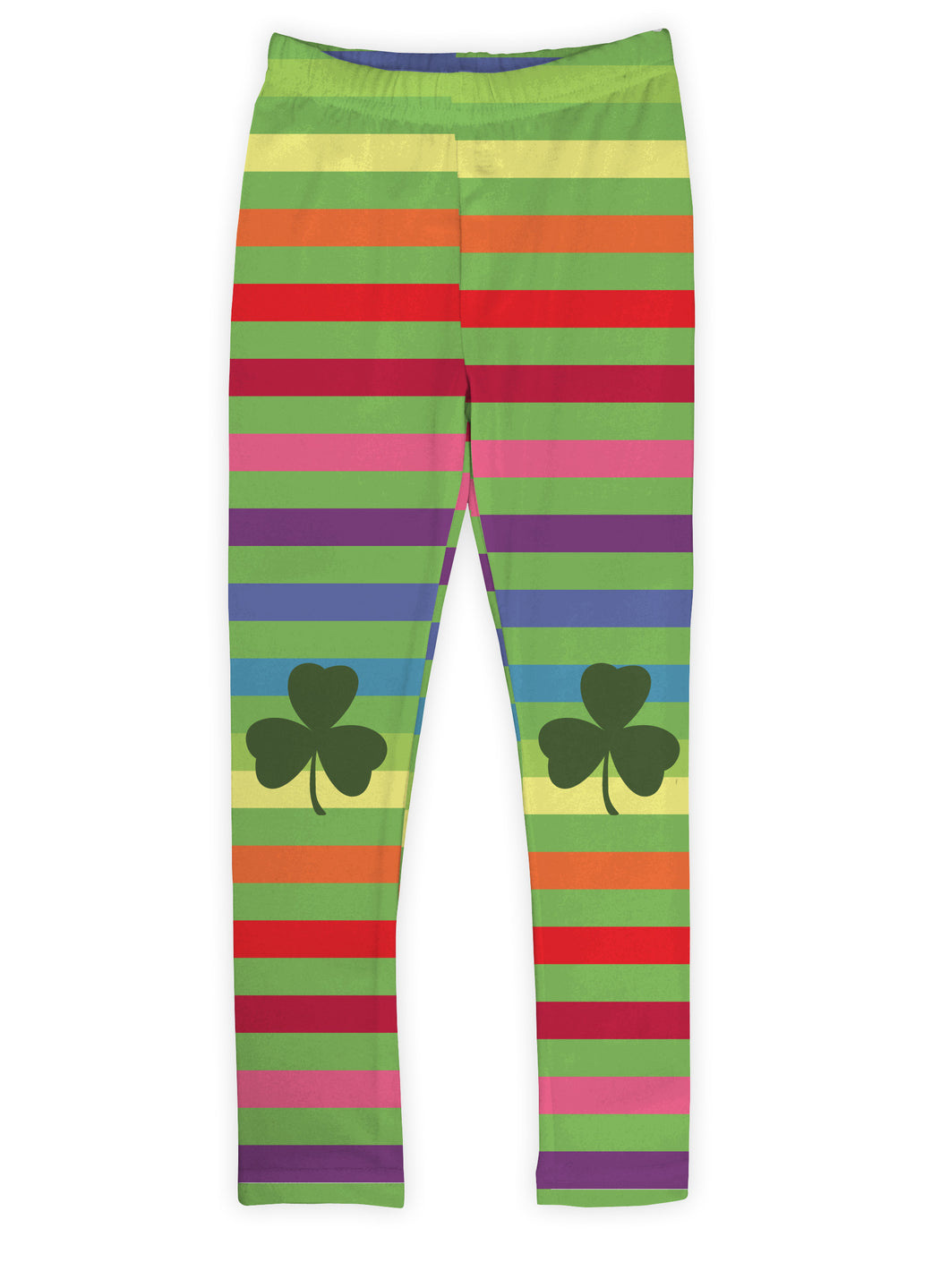 Rainbow Stripe Shamrock Leggings