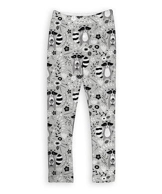 Gray Cute Raccoons Leggings