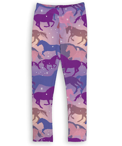 Purple Sparkle Horses Leggings