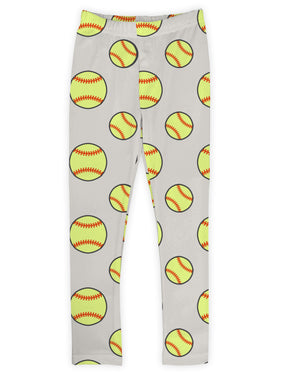 Gray Softballs Leggings
