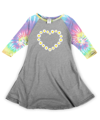 Daisies Heart Pastel Tie-Dye Sleeve Dress