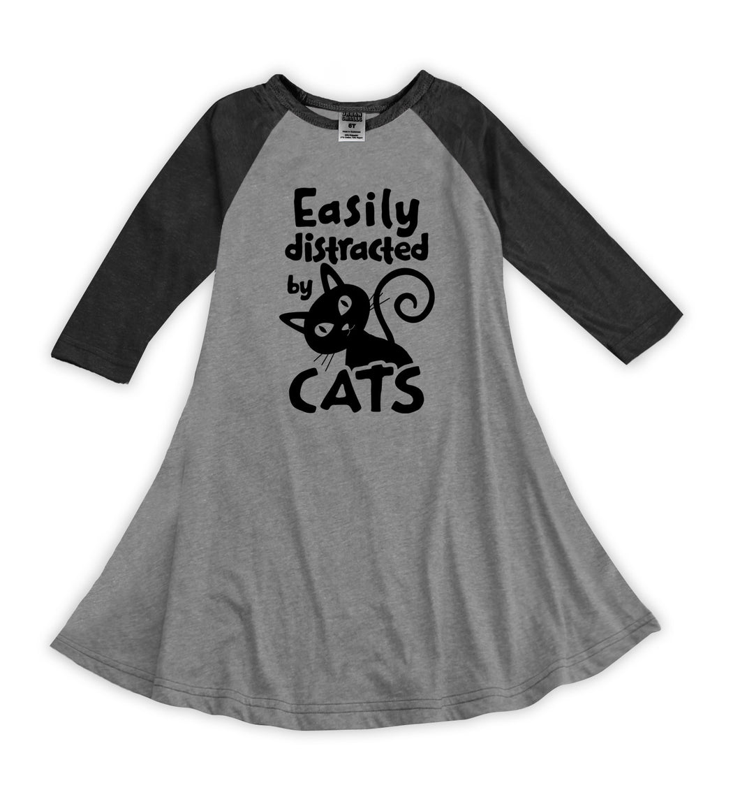 'Easily Distracted by Cats' Raglan Dress