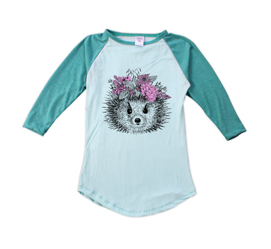 Hedgehog with Flower Wreath Fitted Raglan