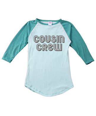 Aqua Retro 'Cousin Crew' Fitted Raglan Tee