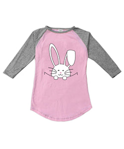 Light Pink & Heather Gray Peeking Bunny Fitted Raglan Tee