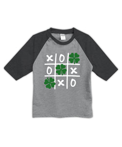 Heather Gray & Charcoal Tic Tac Toe Shamrock Raglan Tee