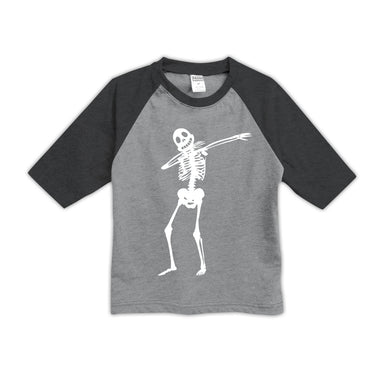 Heather Gray Dabbing Skeleton Raglan Tee