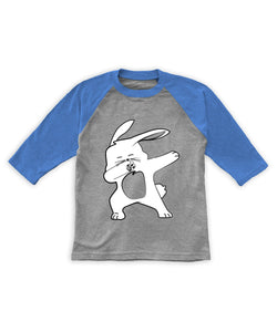 Heather Gray & Blue Dabbing Bunny Raglan Tee